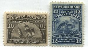 Newfoundland 1897 Cabot 10 and 12 cents mint o.g. hinged