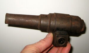 CAST IRON / STEEL ANTIQUE SIGNAL LINE CANNON NAUTICAL ?   BIG BANG TOY  ?