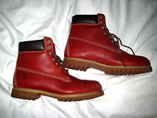 "TIMBERLAND RUGGED ENGRAINED LOGO BURGUNDY ROSE RED LEATHER BOOTS-6""-NICE-13 M"