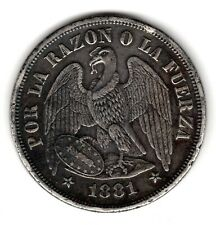 CHILE - 1 PESO 1881 KM# 142.1 Silver Crown