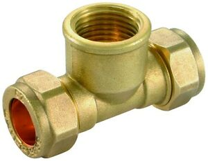 """15mm x 15mm x 1/2"""" Threaded Center Compression Tee - Female - Brass Compression"""