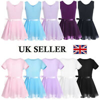 UK Girls Ballet Leotard+Wrap Tutu Skirt Dance Dress Gymnastics Costume Dancewear