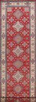 Geometric Super Kazak Vegetable Dye Hand-knotted Oriental Long Runner Rug 4'x16'