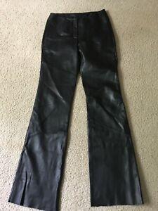 Pelle Studio Wilsons Women Size 4 100% Leather Black Pant 26 X 34