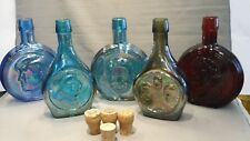 Vintage Lot of 5 Wheaton Commemorative Glass Decanters in Packaging
