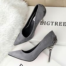 Fashion Metal Heel Pointed-toe Pumps Classics Suede Women High Heels Stilettos