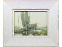 River Landscape - Original Vintage Watercolour Painting Early 20th Century