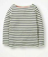 NEW RRP £1 6 Mini Boden   Breton T-Shirt - Ecru/Polish Navy
