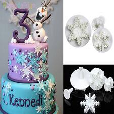 3pcs Snowflake Plunger Cutter Mold Sugarcraft Fondant Cake Decorating DIY Tools