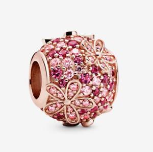 New Genuine Pandora Rose Gold Pink Pavé Daisy Flower Charm 788797C01 ALE R