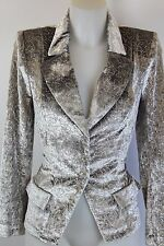 Lillie Rubin Grey Velvet Button Front Jacket With Crystals Size Small