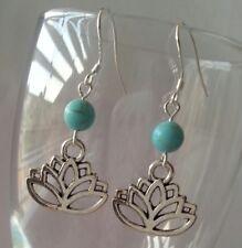 925 Sterling Silver Hook Lotus Flower Dangle Charm Fashion Earrings Blue bead