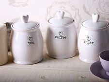 White Tea Coffee Sugar Kitchen Charm Storage Jars Canisters Heart Lid Ceramic