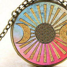 New Symbol Pendant Necklace Triple Moon Goddess, Sun, Flower of Life Wicca Pagan