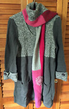 STYLE & CO Grey Gray Pink Long Detachable Scarf Neck Wool Sweater Tunic S NWOT