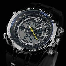 INFANTRY Mens Digital Quartz Wrist Watch Chronograph Date Day Black Rubber Sport
