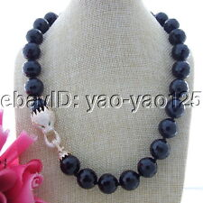 "S112607 22"" 18mm Faceted Onyx Necklace CZ Clasp"