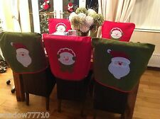 Quality Santa and Snowman festive Christmas Chair Covers red green x 4