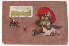 Dressed Bear Bunny Rabbit Chick Red Umbrella Postcard