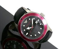 EMPORIO ARMANI MEN'S COLLECTION RED DETAIL GMT WATCH AR0567