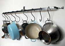 Long Hanging pot rack pan kitchen iron wall mounted saucepan hooks hand made UK