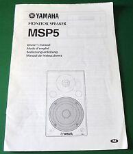 Original Yamaha Monitor Speaker MSP5 Owner's Manual
