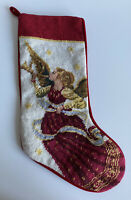 Vintage Needlepoint Angel with French Horn Christmas Stocking Red Back VTG