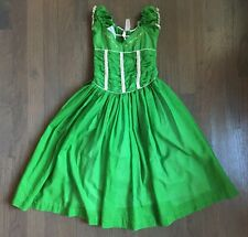 Vtg 50s 60s Little Lady Green Embroidered Ruched Crinoline Party Girls Dress 3/4