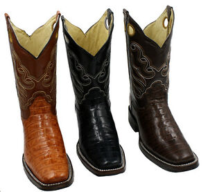 Men's Cowboy Rodeo Square Toe Crocodile Belly Print Rubber Sole BOOTS