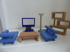 WOODEN DOLLS HOUSE SITTING ROOM FURNITURE