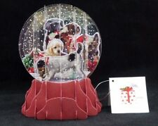 Christmas Dogs Pop Up Snow Globe Greeting Card Holiday Christmas Card Large New