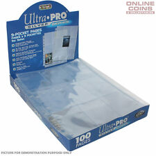 Ultra Pro Silver Series 3 Hole 9 Pocket Trading Card Pages - 100 Sheets