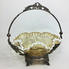 Vtg Fenton Golden Rugged Edged Brides Basket With Metal Holder