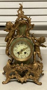 Antique Key Wind Clock Cupids Working French Art Nouveau Green Onyx Gold Gilded