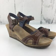 2c0eb9c82bdf7 Dr Scholls Womens 9.5 Wedge Sandals Brown Leather Cork Adjustable Buckle
