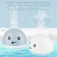 Kids Electric Induction Water Spray Ball Whale  00006000 Bath Sprinkler Toys+Music Light