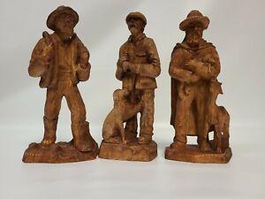 Vintage Mountain Men Wooden Carved Figures Lot of 3