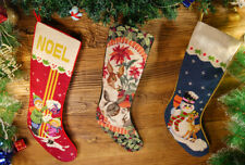 Vivid Mice Snowman Deer Kids Gifts Needlepoint Christmas Stocking Hand Stitched