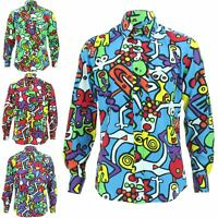 Mens Shirt Loud Originals Cotton SLIM FIT Long Sleeve TIFFY PRINT Retro Dance