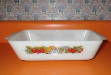 "Vintage Casserole Meatloaf Dish Pan Anchor Hocking Ovenware 11"" Fruit Pattern"