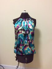 Womens  A. Byer Blouse Top Sleevelss Tie At Shoulder Multi-color