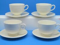 Wedgwood Etruria England EDME Ribbed Foot Cups and Saucers Bundle of 4