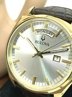 Bulova Men's Watch 97C106 Classic Silver Tone Dial Day Date Brown Leather Strap