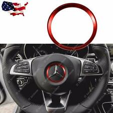 Red Steering Wheel Center Decoration Cover Trim For 15+ Mercedes C E CLA GLA GLC