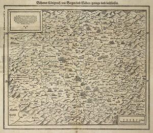 Czech Republic Bohemia Original Woodcut Map Münster 1598