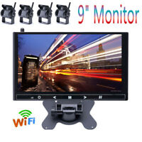 """9"""" Monitor 4X Camera Wireless Rear View Backup Night Vision  For RV Truck Bus US"""
