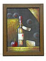 Wine Cellar Fruit Still Life 12 x 16 Art Oil Painting on Canvas w/Custom Frame