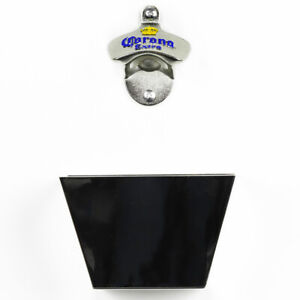 New Corona Wall Mounted Bottle Opener & Black Plastic Cap Catcher with Screws