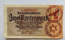 🍀🇩🇪 Nazi Era GERMANY 2 Reichsmark with a LITZMANNSTAND Ghetto stamp