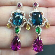 Amethyst Blue Topaz Emerald Sapphire Simulant Diamond Dangle Earrings 925 Silver